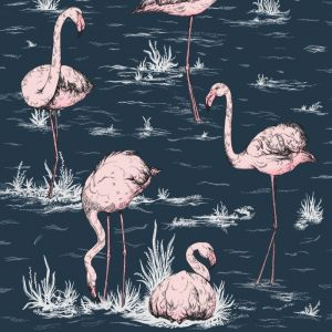 112/11041-CS FLAMINGOS Ink Plaster Pink Cole & Son Wallpaper