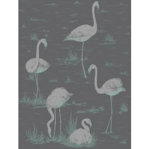 95/8048-CS FLAMINGOS Teal Slvr Bk Cole & Son Wallpaper