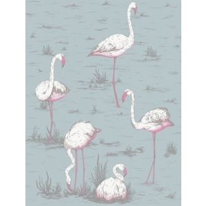 F111/3010-CS FLAMINGOS Print Room Blue Cole & Son Fabric