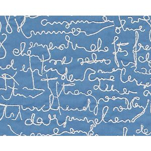 B8 00040581 THE LETTERS Blue Scalamandre Fabric