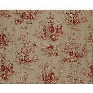 FB 0001A02A VOYAGE EN CHINE Red Old World Weavers Fabric