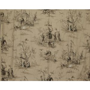 FB 0002A02A VOYAGE EN CHINE Black Old World Weavers Fabric