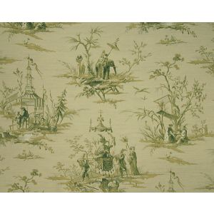 FB 0004A02A VOYAGE EN CHINE Vert Old World Weavers Fabric