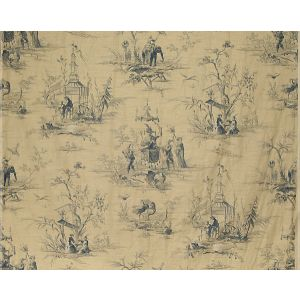 FB 0007A02A VOYAGE EN CHINE Bleu Old World Weavers Fabric