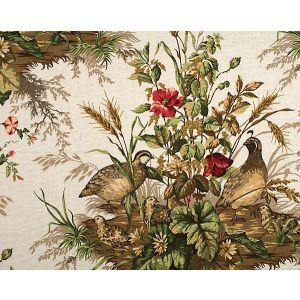 16310-001 EDWIN'S COVEY Multi On White Scalamandre Fabric