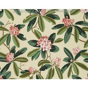 16454-001 RHODODENDRON OUTDOOR Reds Greens On Cream Scalamandre Fabric