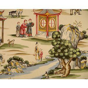 16264-002 SHANGHAI Multi On Tea Stain Scalamandre Fabric