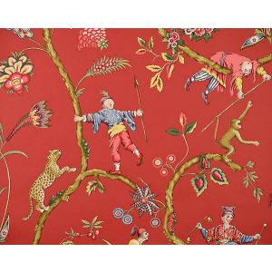 SC 0002WP81547 CHINOISE EXOTIQUE Tomato Scalamandre Wallpaper