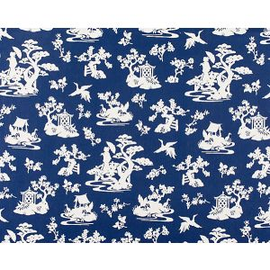 WR 00012953 LILY POND Indigo Old World Weavers Fabric