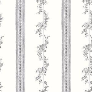 2827-7185 Drottningholm Floral Stripe Grey Brewster Wallpaper