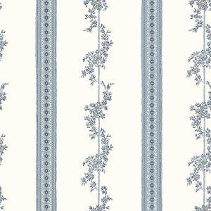 2827-4508 Drottningholm Floral Stripe Periwinkle Brewster Wallpaper