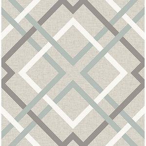 2901-22649 Saltire Emile Lattice Taupe Brewster Wallpaper
