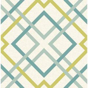 2901-22651 Saltire Emile Lattice Turquoise Brewster Wallpaper