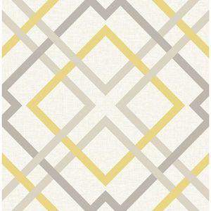 2901-22652 Saltire Emile Lattice Yellow Brewster Wallpaper