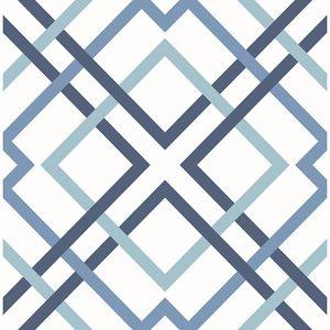 2901-25436 Saltire Emile Lattice Blue Brewster Wallpaper