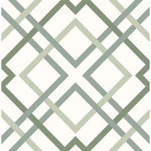 2901-25437 Saltire Emile Lattice Green Brewster Wallpaper