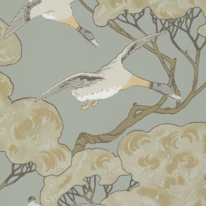 FG090-H54 FLYING DUCKS Slate Blue Mulberry Home Wallpaper