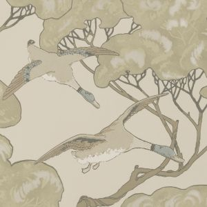 FG090-J80 FLYING DUCKS Silver Taupe Mulberry Home Wallpaper
