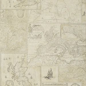 FG077-J107 BOHEMIAN TRAVELS Parchment Mulberry Home Wallpaper