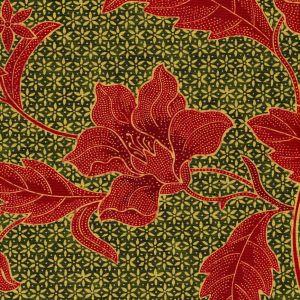 6550-02 ANTIK BATIK Greens Terracotta Quadrille Fabric