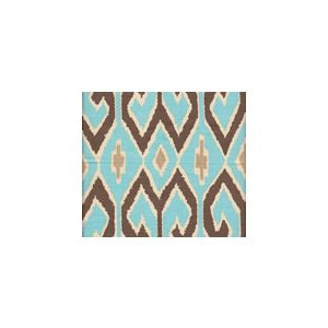 7210-04 AQUARIUS Turquoise Brown with Beige on Cream Quadrille Fabric