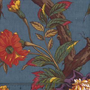 2341-24 ARBRE FLEUR TOILE Bleu Quadrille Fabric