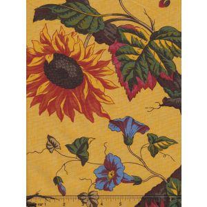2341-21 ARBRE FLEUR TOILE Jaune Quadrille Fabric