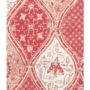 6630CU-07 BALINESE BATIK Shrimp Cream on White Linen Quadrille Fabric