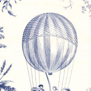 1348-02 BALLON DE GONESSE TOILE Bleu Quadrille Fabric