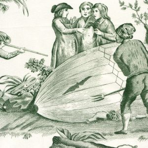 1348-03 BALLON DE GONESSE TOILE Vert Quadrille Fabric