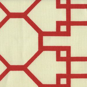 300406F BRIGHTON Red on Tint Quadrille Fabric