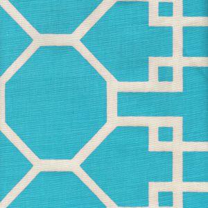 300422F BRIGHTON REVERSE Turquoise on Tint Quadrille Fabric