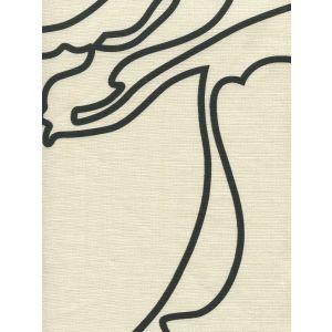 CP1060-06 CAPRI Black on Tan Linen Quadrille Fabric