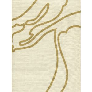 CP1060-04 CAPRI Gold Metallic on Tan Linen Quadrille Fabric