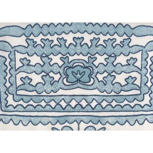 HC1990S-08WSUN CLEMENTINE Windsor Turquoise Navy on Suncloth Quadrille Fabric