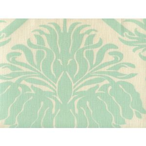 306160L-03 CORINTHE DAMASK ONE COLOR Aqua on Ecru Quadrille Fabric