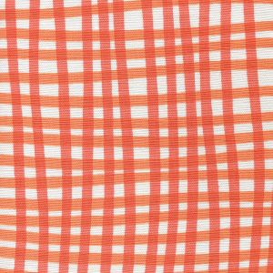AC105-5WLC COUNTRY CHECK Orange Tangerine on White Quadrille Fabric