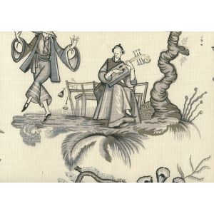 306159F DANSE CHINOIS Black Grey Quadrille Fabric