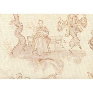 306150F DANSE CHINOIS Taupe Cream Beige Quadrille Fabric