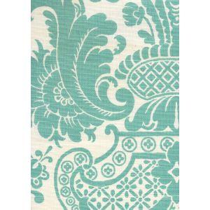 302076F ESTE Turquoise on Tint Quadrille Fabric