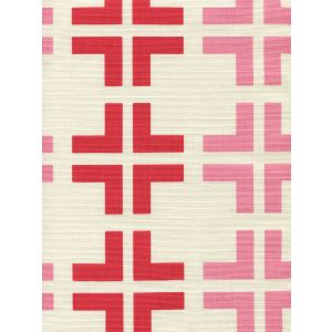 8120-06 FROWICK LARGE SCALE Red Pink on Tint Quadrille Fabric