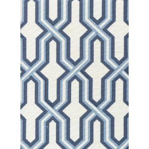 6300-CUST3 GORRIVAN FRETWORK Navy Periwinkle on White Custom Only Quadrille Fabric