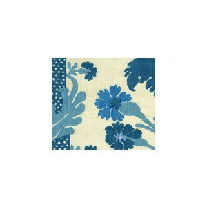 302042F-CU HENRIOT FLORAL Turquoise on Ecru Quadrille Fabric