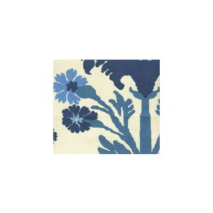 302041F-CU HENRIOT FLORAL Blue French Green on Ecru Quadrille Fabric