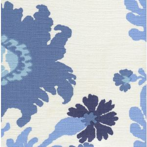 302047FLC HENRIOT FLORAL Blues on White Quadrille Fabric