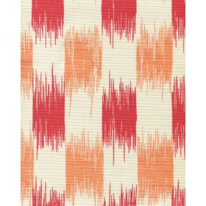 9015-07 II BLUE IKAT Red Orange on Tint Quadrille Fabric