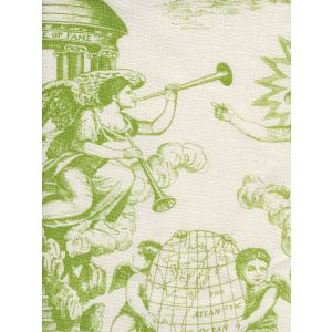 302714F-CU INDEPENDENCE ENGRAVING Green on Tinted Linen Quadrille Fabric
