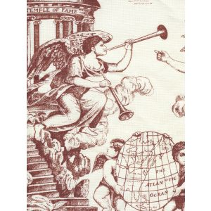 302716F-CU INDEPENDENCE ENGRAVING Siena on Tinted Linen Quadrille Fabric