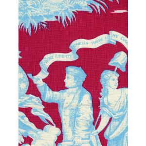 302288F-CU INDEPENDENCE TOILE Red Turquoise on Linen Quadrille Fabric