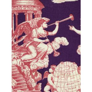 302284F-CU INDEPENDENCE TOILE Rose Purple on Linen Quadrille Fabric